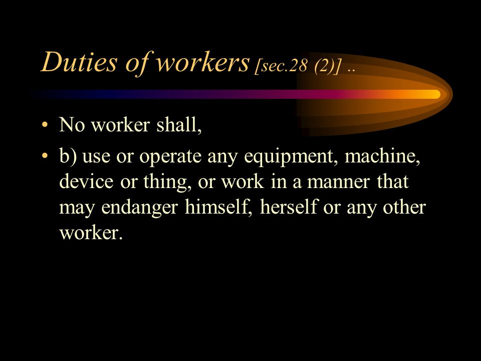 Duties of workers [sec. 28(1).