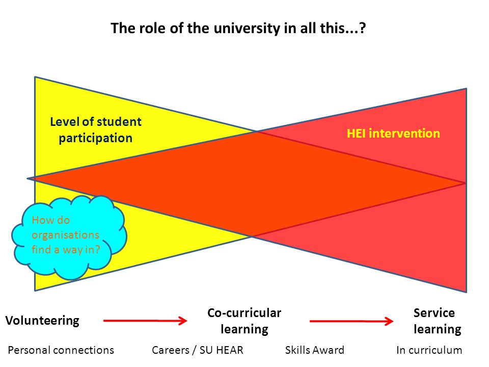 Level of student participation HEI intervention Co-curricular learning Volunteering Service learning The role of the university in all this....