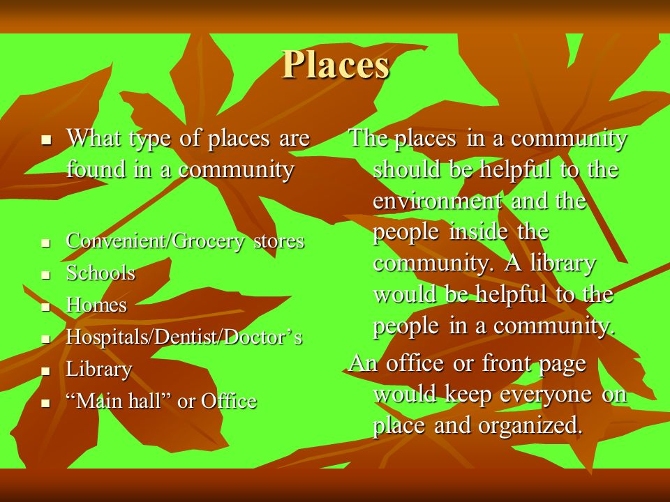Places What type of places are found in a community What type of places are found in a community Convenient/Grocery stores Convenient/Grocery stores Schools Schools Homes Homes Hospitals/Dentist/Doctors Hospitals/Dentist/Doctors Library Library Main hall or Office Main hall or Office The places in a community should be helpful to the environment and the people inside the community.