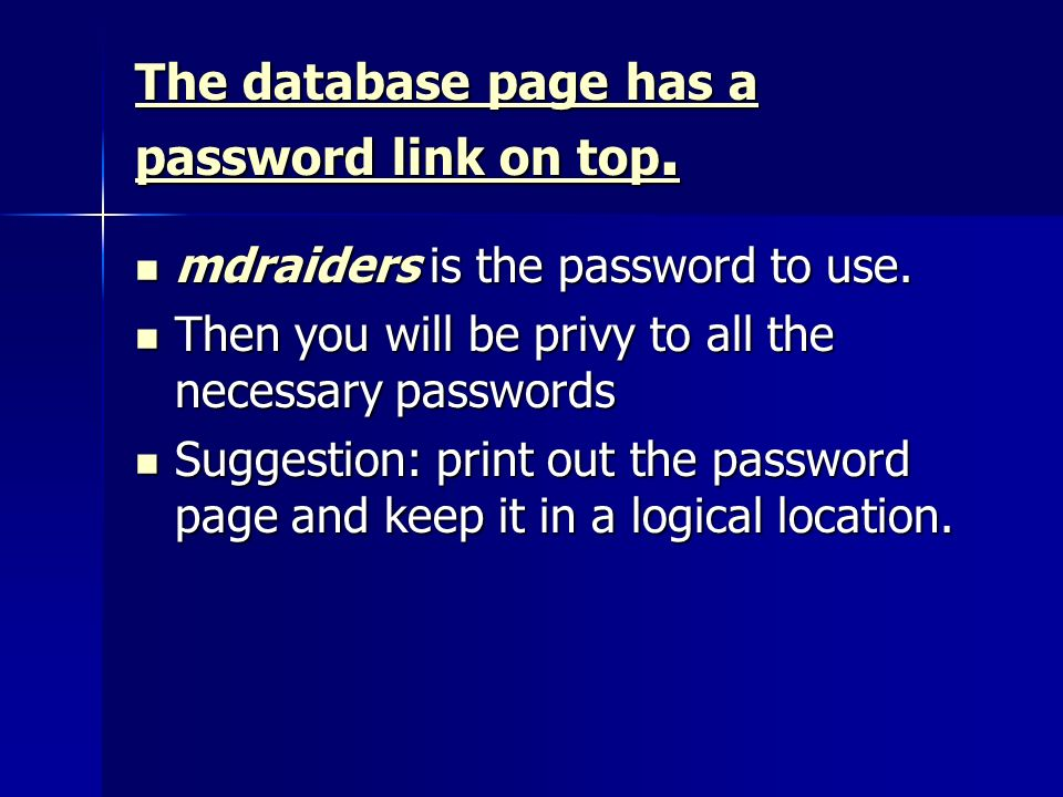 The database page has a password link on top. The database page has a password link on top.