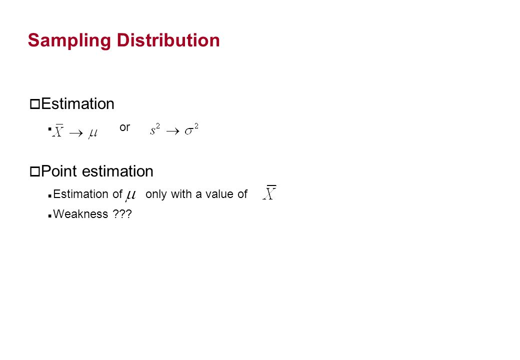 o Estimation or o Point estimation Estimation of only with a value of Weakness