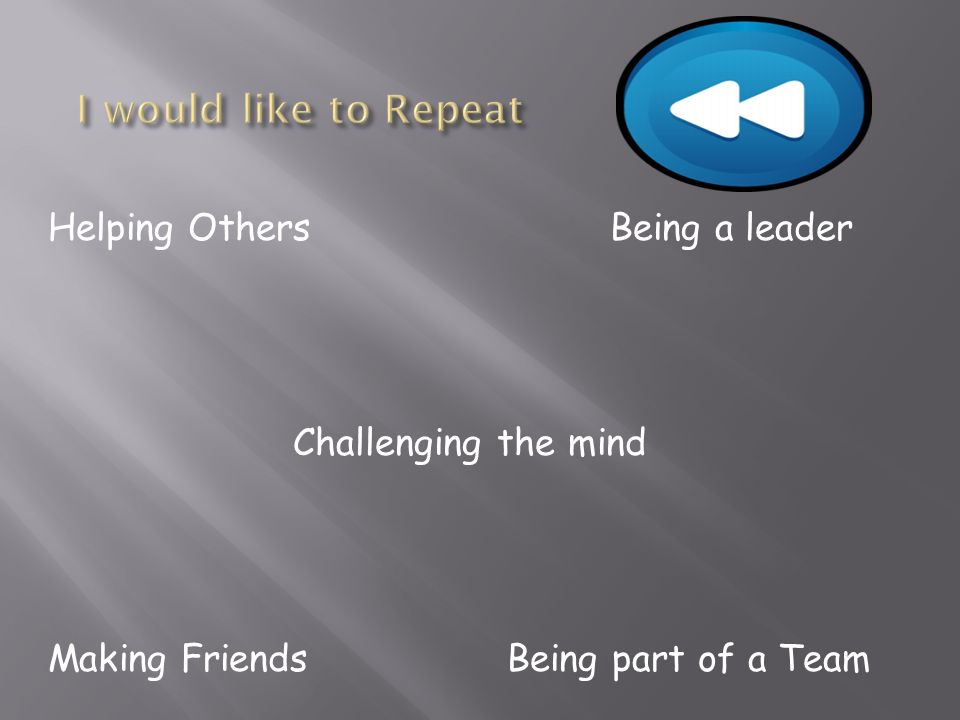 Helping OthersBeing a leader Challenging the mind Making Friends Being part of a Team