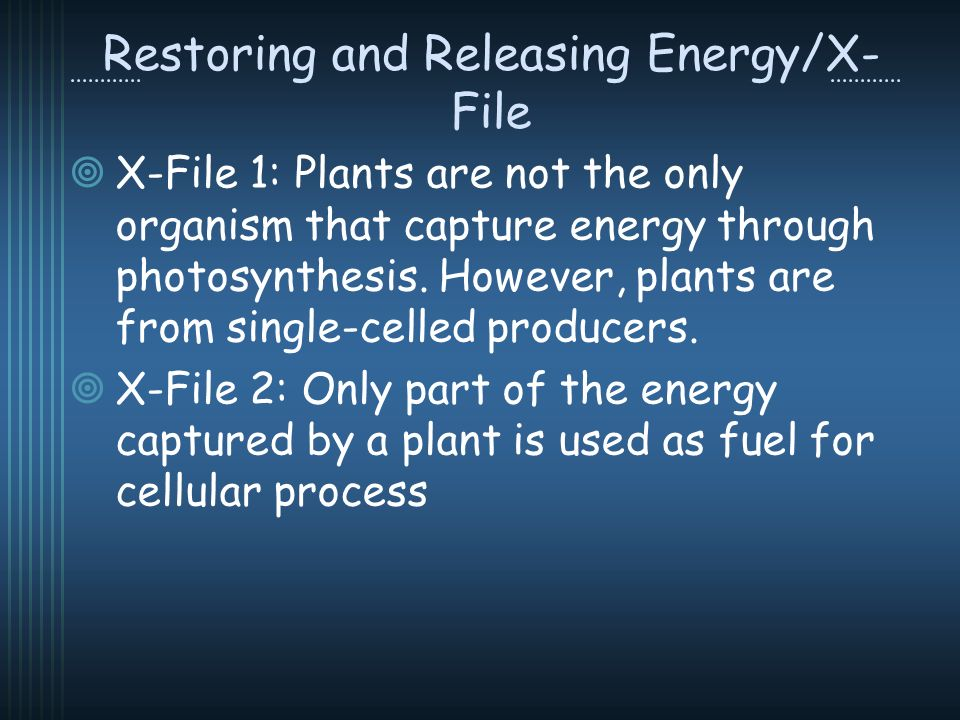 Restoring and Releasing Energy/X- File X-File 1: Plants are not the only organism that capture energy through photosynthesis.