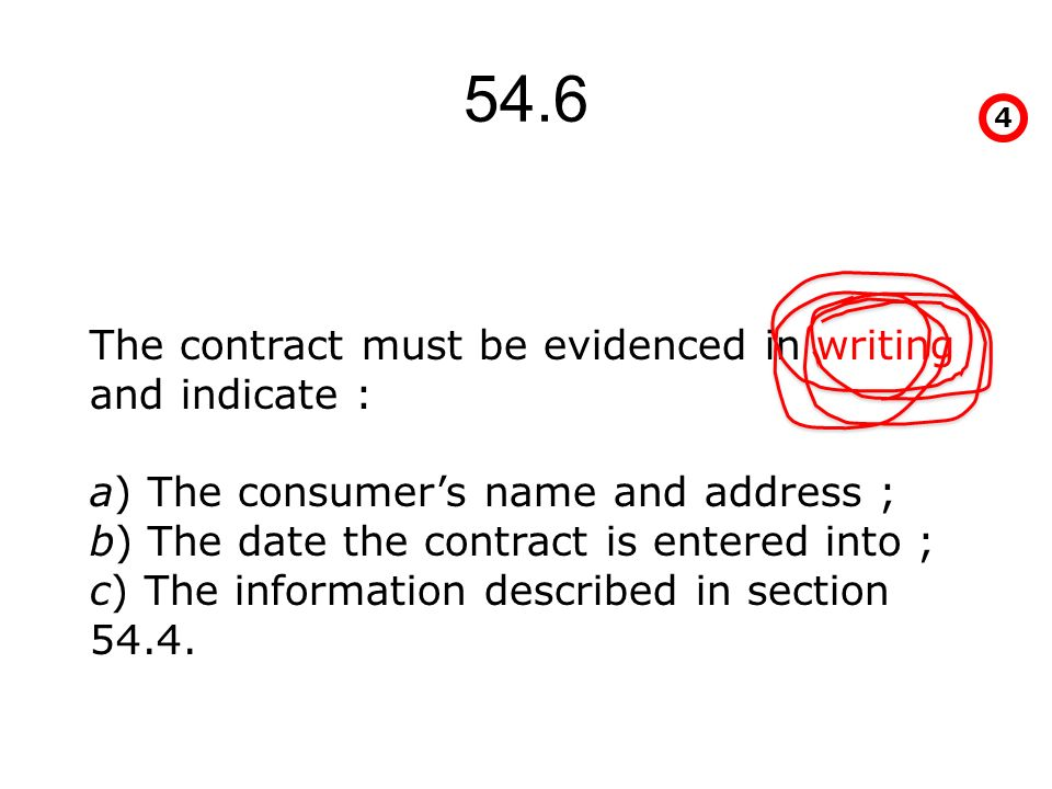 54.6 4 The contract must be evidenced in writing and indicate : a) The consumers name and address ; b) The date the contract is entered into ; c) The information described in section 54.4.