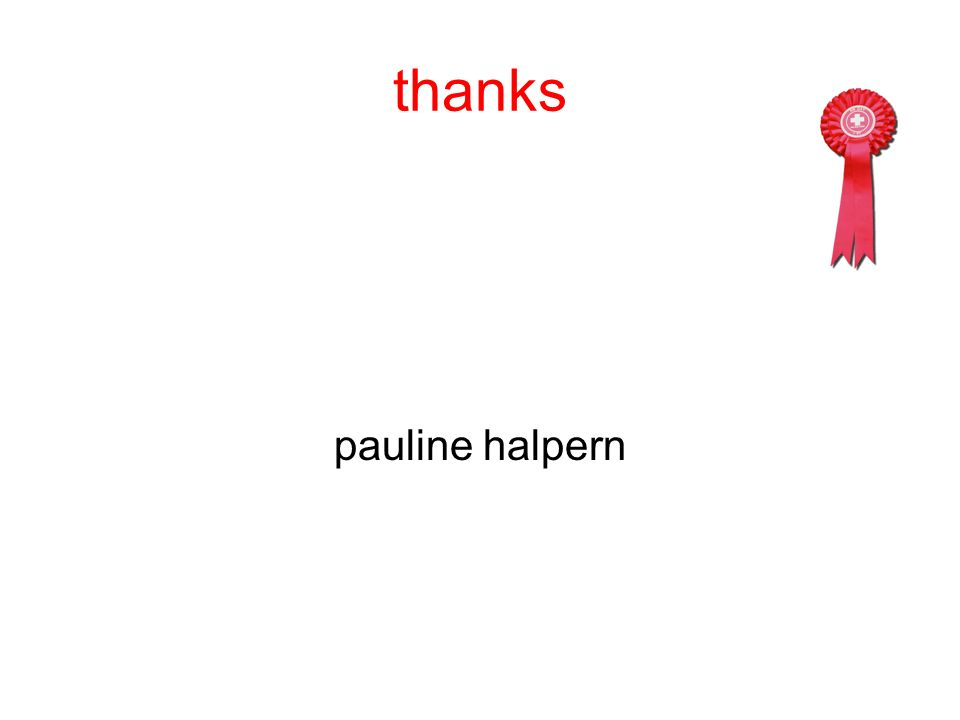 thanks pauline halpern