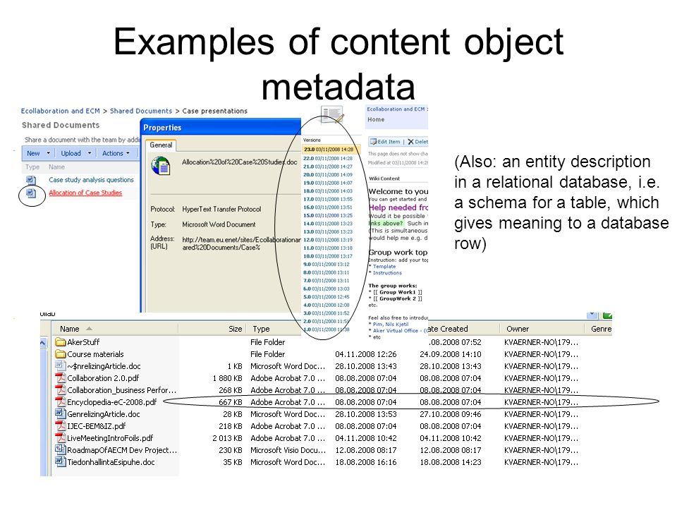 Examples of content object metadata (Also: an entity description in a relational database, i.e.