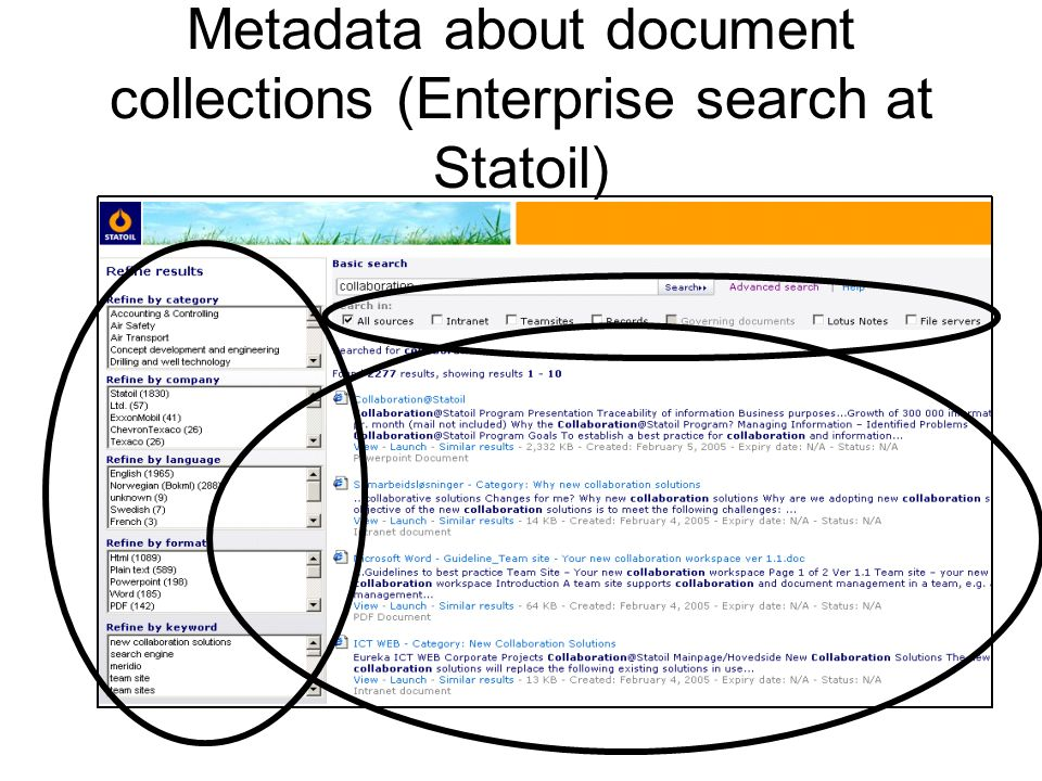 Metadata about document collections (Enterprise search at Statoil)