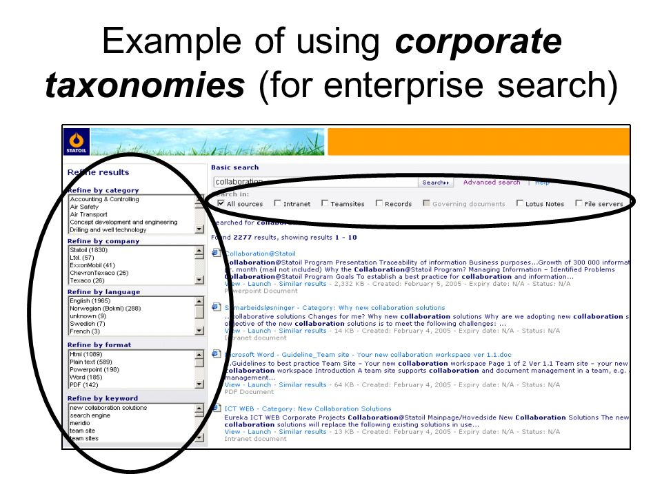 Example of using corporate taxonomies (for enterprise search)