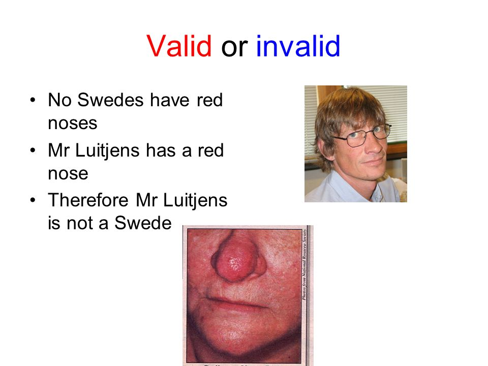 Valid or invalid No Swedes have red noses Mr Luitjens has a red nose Therefore Mr Luitjens is not a Swede