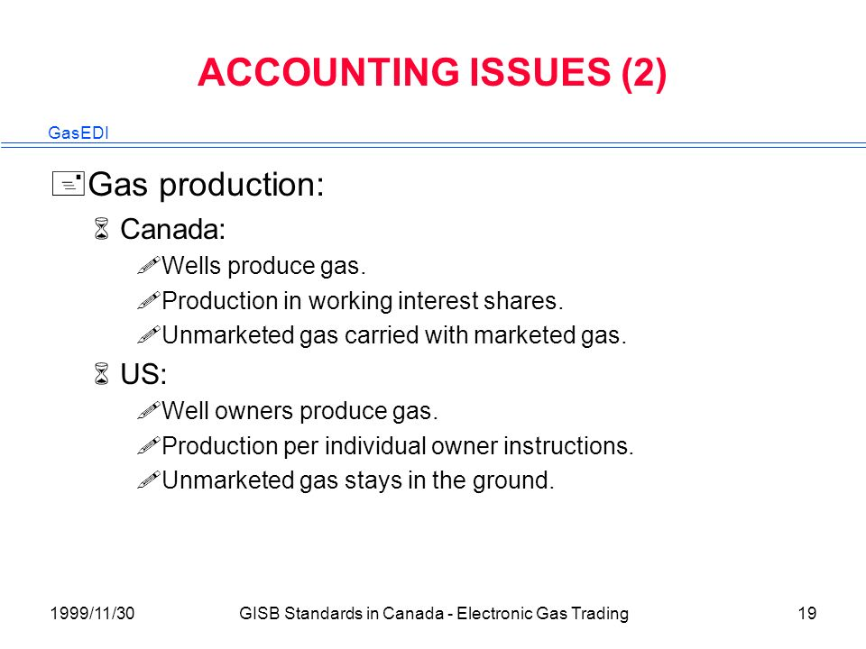 GasEDI 1999/11/30GISB Standards in Canada - Electronic Gas Trading19 ACCOUNTING ISSUES (2) +Gas production: 6Canada: !Wells produce gas.