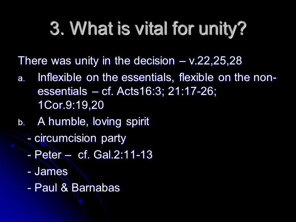 3. What is vital for unity. There was unity in the decision – v.22,25,28 a.