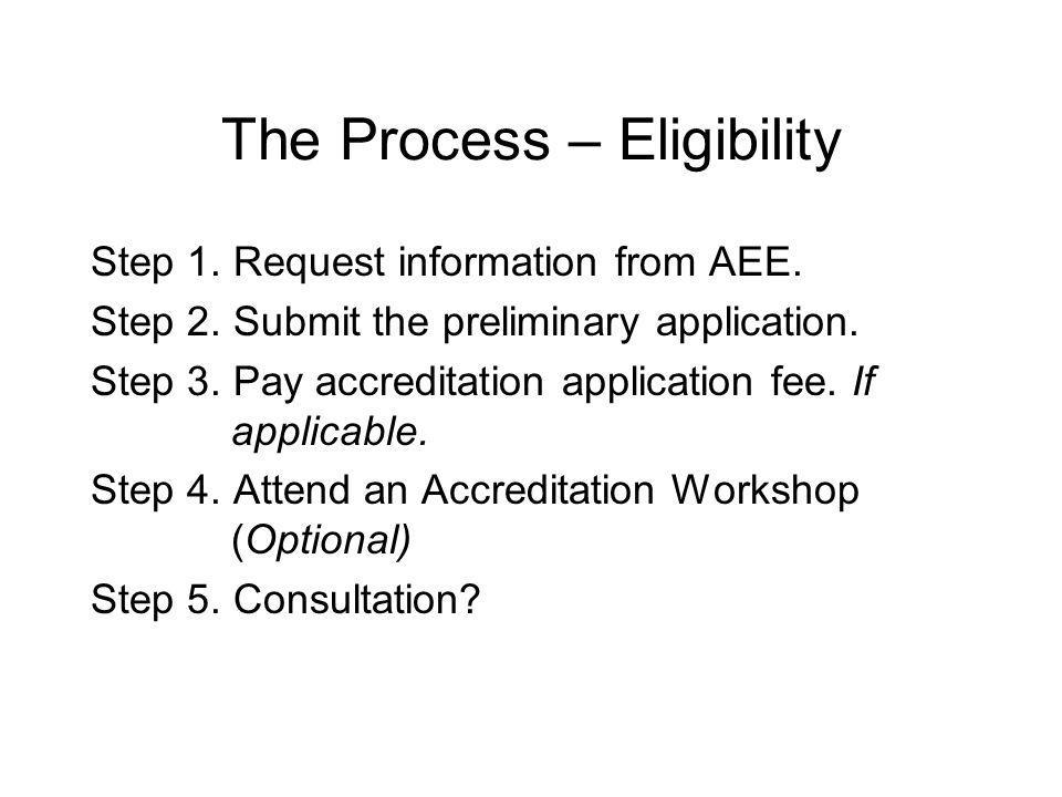 The Process – Eligibility Step 1. Request information from AEE.