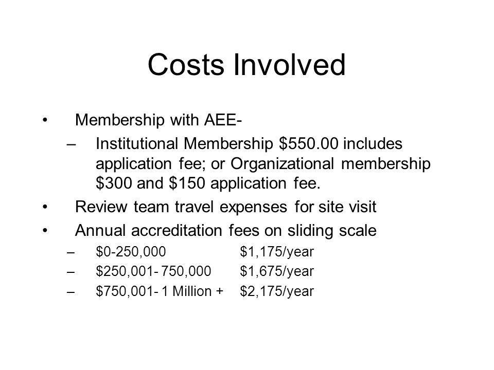 Costs Involved Membership with AEE- –Institutional Membership $550.00 includes application fee; or Organizational membership $300 and $150 application fee.
