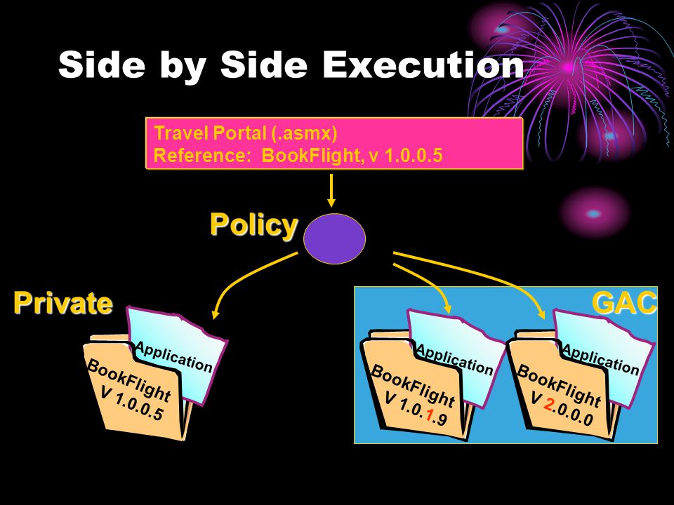 Side by Side Execution Application BookFlight V 1.0.0.5 Application BookFlight V 1.0.1.9 Application BookFlight V 2.0.0.0 GACPrivate Policy Travel Portal (.asmx) Reference: BookFlight, v 1.0.0.5
