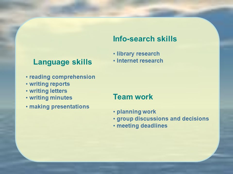 Language skills reading comprehension writing reports writing letters writing minutes making presentations Info-search skills library research Internet research Team work planning work group discussions and decisions meeting deadlines