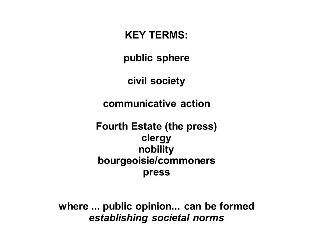 KEY TERMS: public sphere civil society communicative action Fourth Estate (the press) clergy nobility bourgeoisie/commoners press where...