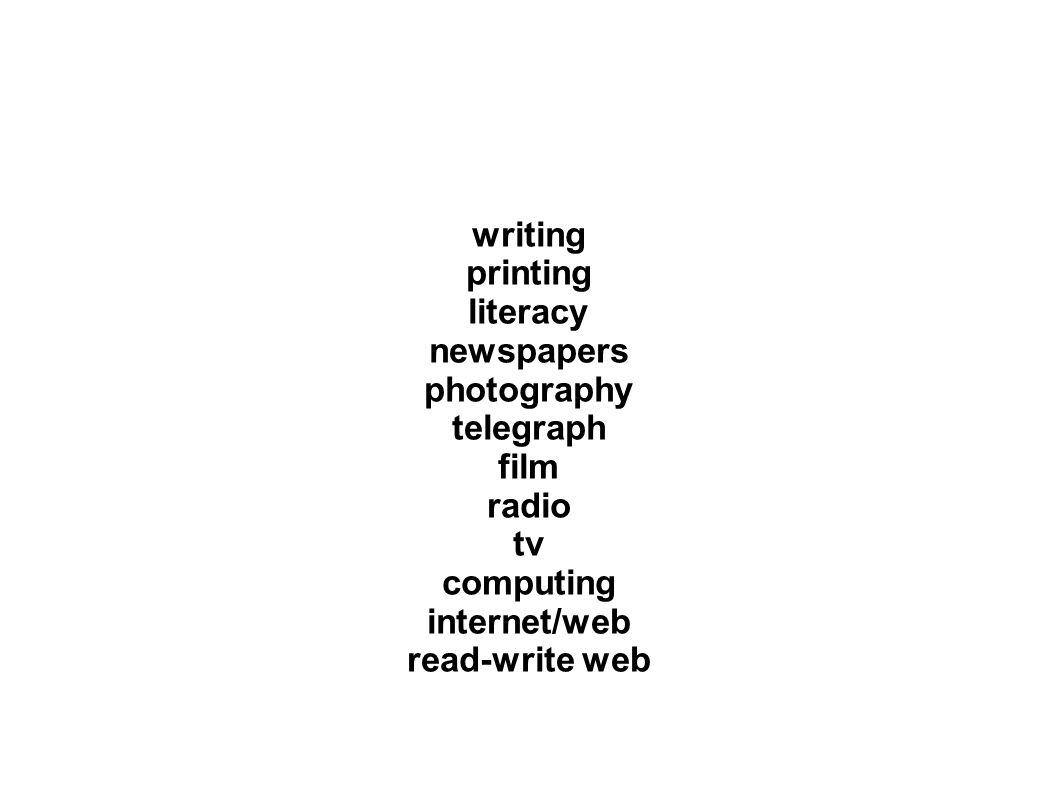 writing printing literacy newspapers photography telegraph film radio tv computing internet/web read-write web