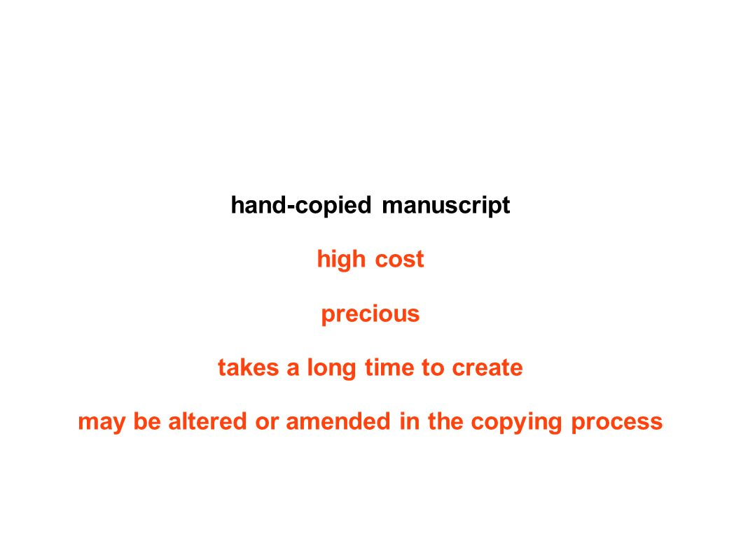 hand-copied manuscript high cost precious takes a long time to create may be altered or amended in the copying process