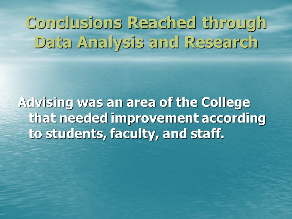 Conclusions Reached through Data Analysis and Research Advising was an area of the College that needed improvement according to students, faculty, and staff.