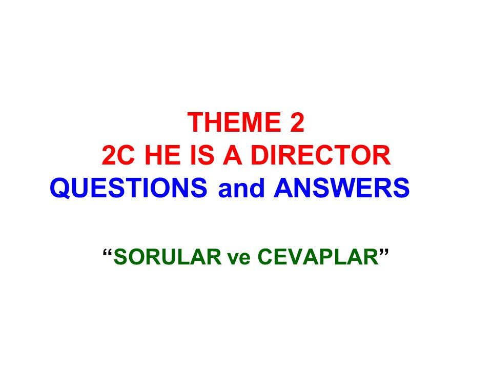 THEME 2 2C HE IS A DIRECTOR QUESTIONS and ANSWERS SORULAR ve CEVAPLAR