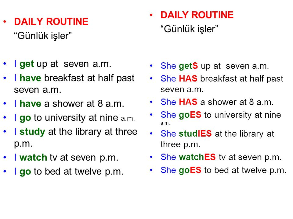 DAILY ROUTINE Günlük işler I get up at seven a.m. I have breakfast at half past seven a.m.