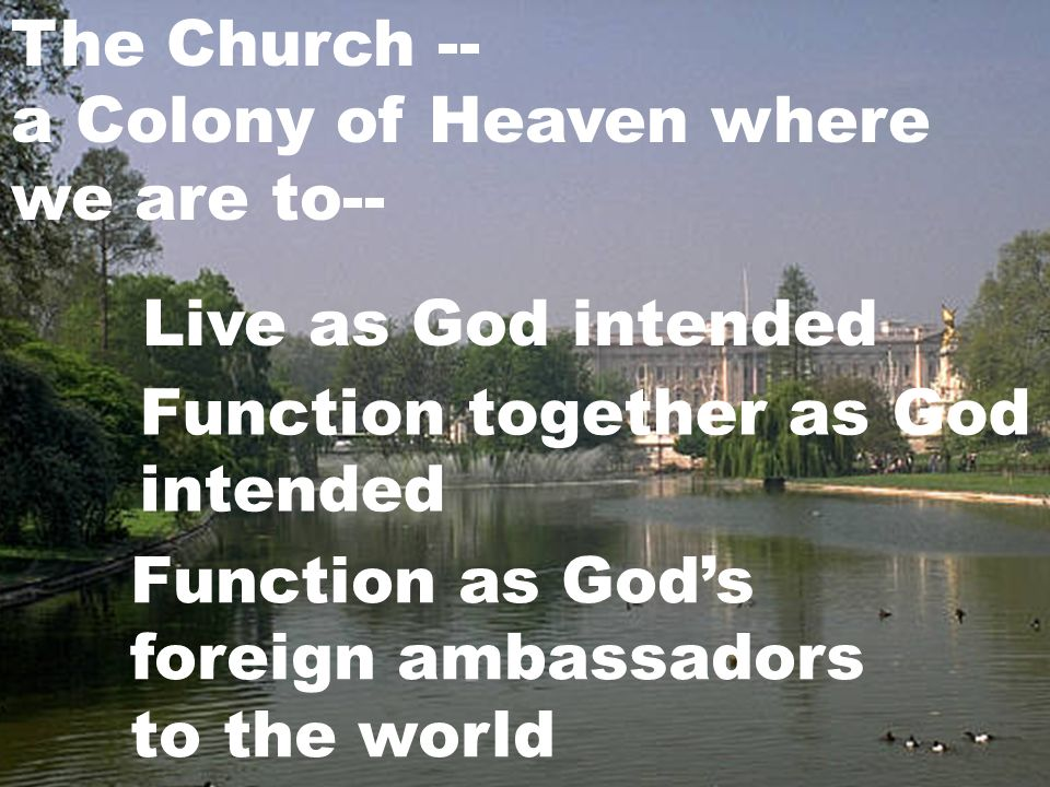 The Church -- a Colony of Heaven where we are to-- Live as God intended Function together as God intended Function as Gods foreign ambassadors to the world
