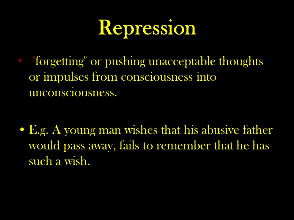Repression forgetting or pushing unacceptable thoughts or impulses from consciousness into unconsciousness.