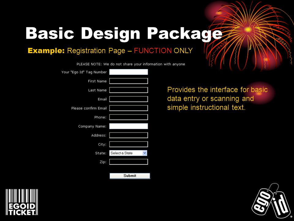 Basic Design Package Example: Registration Page – FUNCTION ONLY Provides the interface for basic data entry or scanning and simple instructional text.