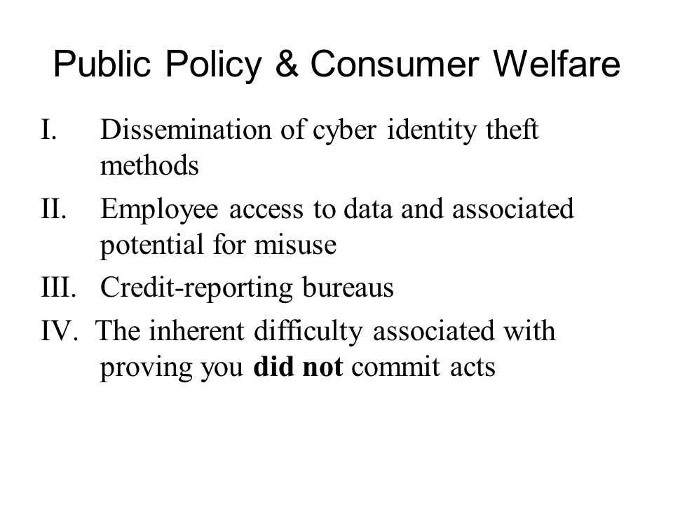 Public Policy & Consumer Welfare I.Dissemination of cyber identity theft methods II.Employee access to data and associated potential for misuse III.