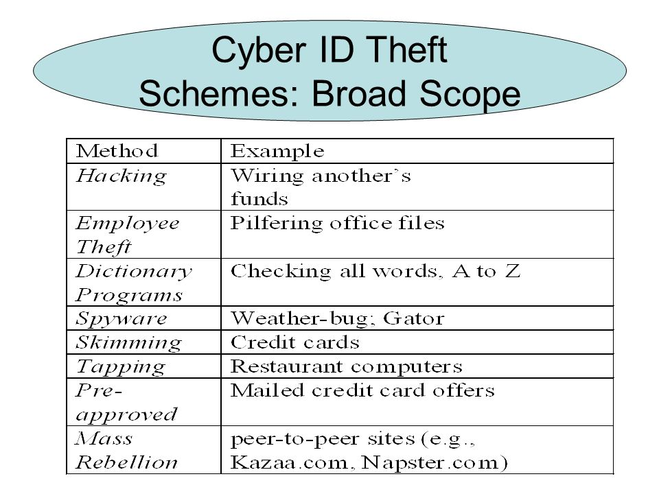 Cyber ID Theft Schemes: Broad Scope