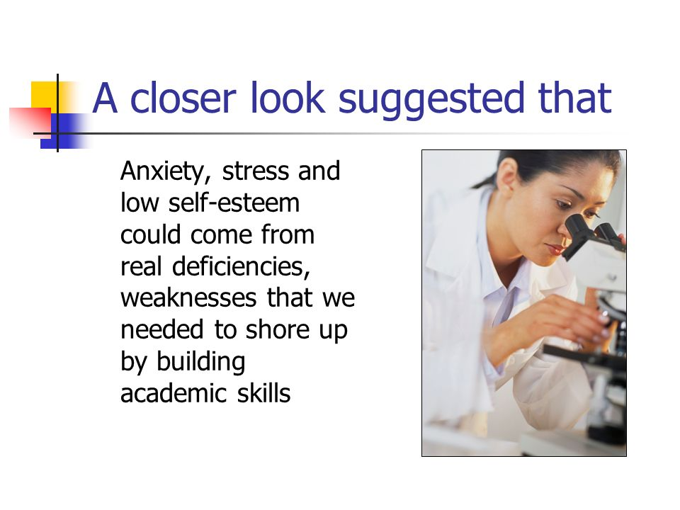 A closer look suggested that Anxiety, stress and low self-esteem could come from real deficiencies, weaknesses that we needed to shore up by building academic skills