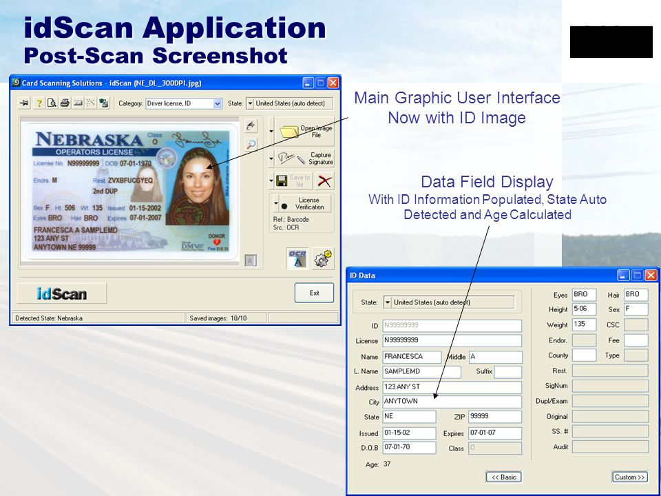idScan Application Post-Scan Screenshot Main Graphic User Interface Now with ID Image Data Field Display With ID Information Populated, State Auto Detected and Age Calculated