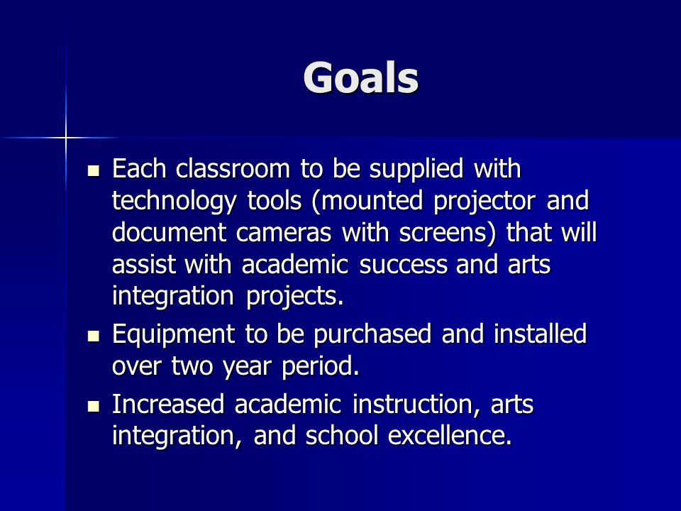 Goals Each classroom to be supplied with technology tools (mounted projector and document cameras with screens) that will assist with academic success and arts integration projects.