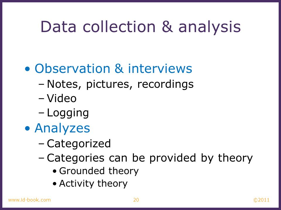 ©2011 20www.id-book.com Data collection & analysis Observation & interviews –Notes, pictures, recordings –Video –Logging Analyzes –Categorized –Categories can be provided by theory Grounded theory Activity theory