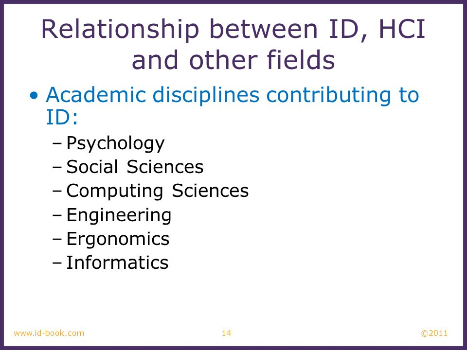 ©2011 14www.id-book.com Relationship between ID, HCI and other fields Academic disciplines contributing to ID: –Psychology –Social Sciences –Computing Sciences –Engineering –Ergonomics –Informatics