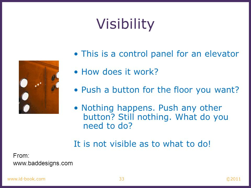 ©2011 33www.id-book.com Visibility This is a control panel for an elevator How does it work.