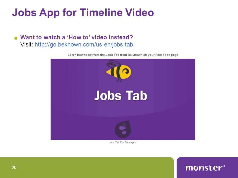 Jobs App for Timeline Video Want to watch a How to video instead.