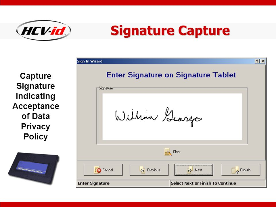 Signature Capture Capture Signature Indicating Acceptance of Data Privacy Policy