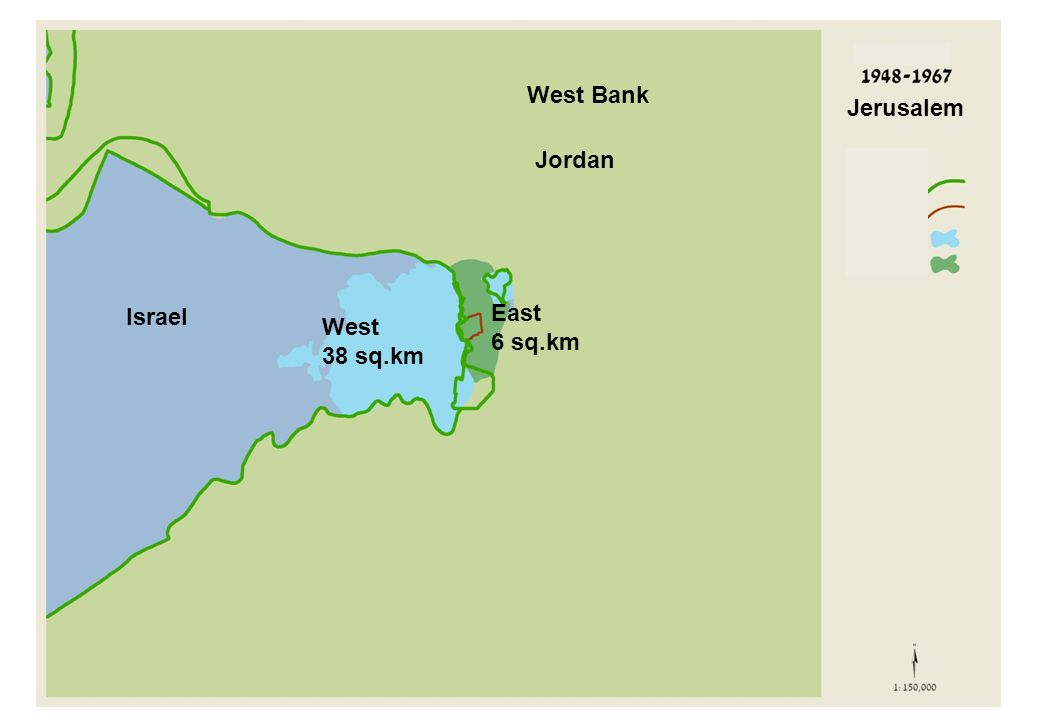 West 38 sq.km East 6 sq.km Israel West Bank Jerusalem Jordan