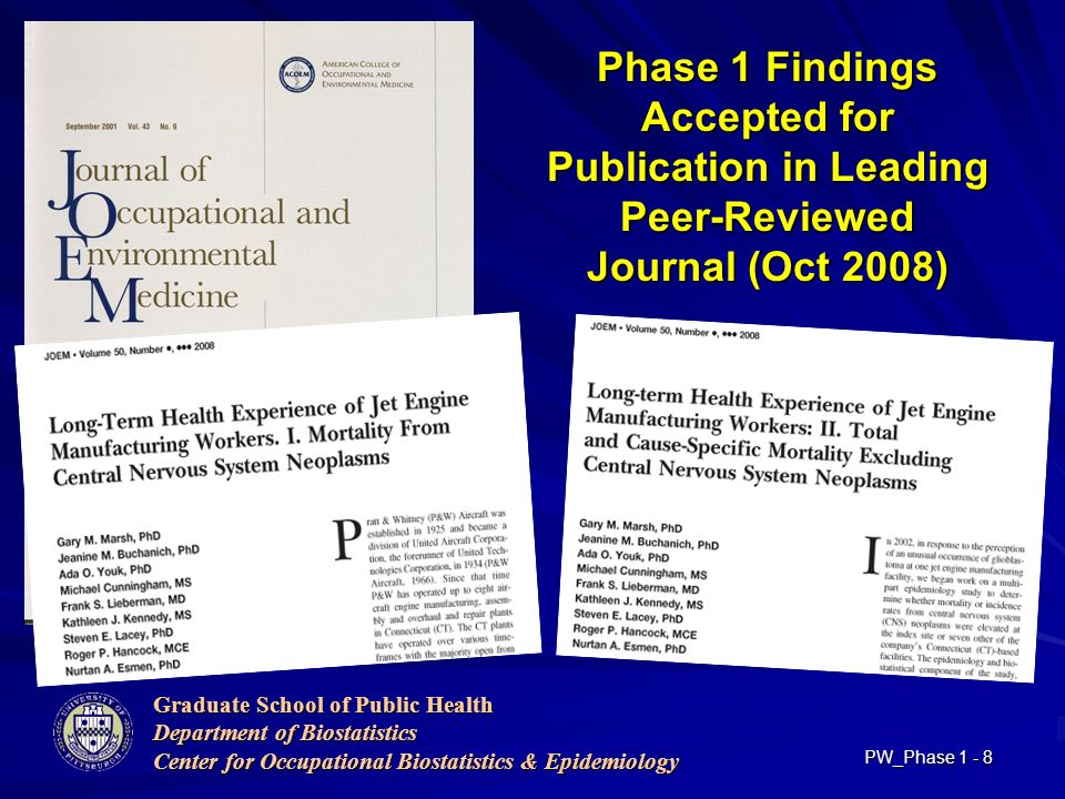 Graduate School of Public Health Department of Biostatistics Center for Occupational Biostatistics & Epidemiology PW_Phase Phase 1 Findings Accepted for Publication in Leading Peer-Reviewed Journal (Oct 2008)
