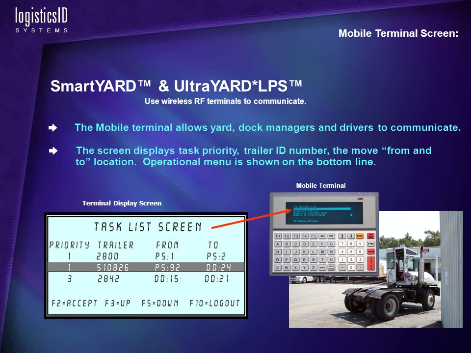 logisticsID S Y S T E M S Mobile Terminal Screen: The screen displays task priority, trailer ID number, the move from and to location.