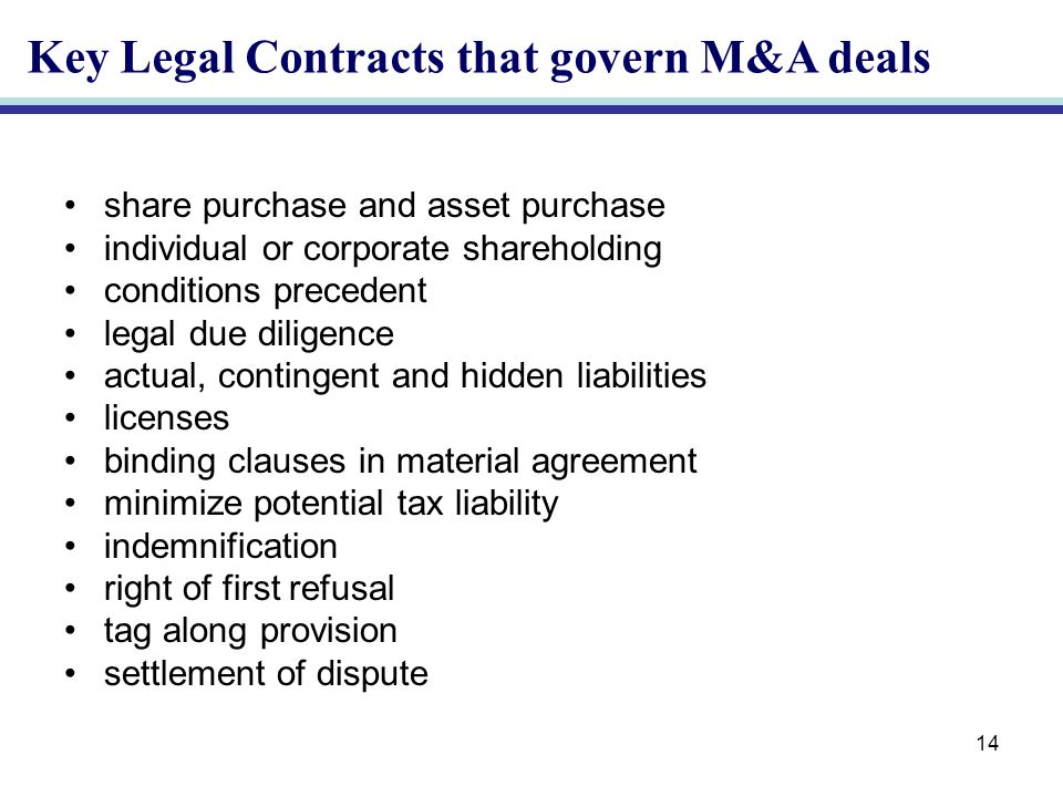 14 share purchase and asset purchase individual or corporate shareholding conditions precedent legal due diligence actual, contingent and hidden liabilities licenses binding clauses in material agreement minimize potential tax liability indemnification right of first refusal tag along provision settlement of dispute Key Legal Contracts that govern M&A deals
