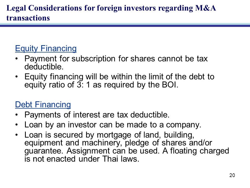 20 Equity Financing Payment for subscription for shares cannot be tax deductible.