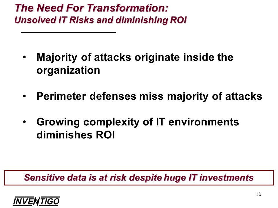 10 Majority of attacks originate inside the organization Perimeter defenses miss majority of attacks Growing complexity of IT environments diminishes ROI The Need For Transformation: Unsolved IT Risks and diminishing ROI Sensitive data is at risk despite huge IT investments