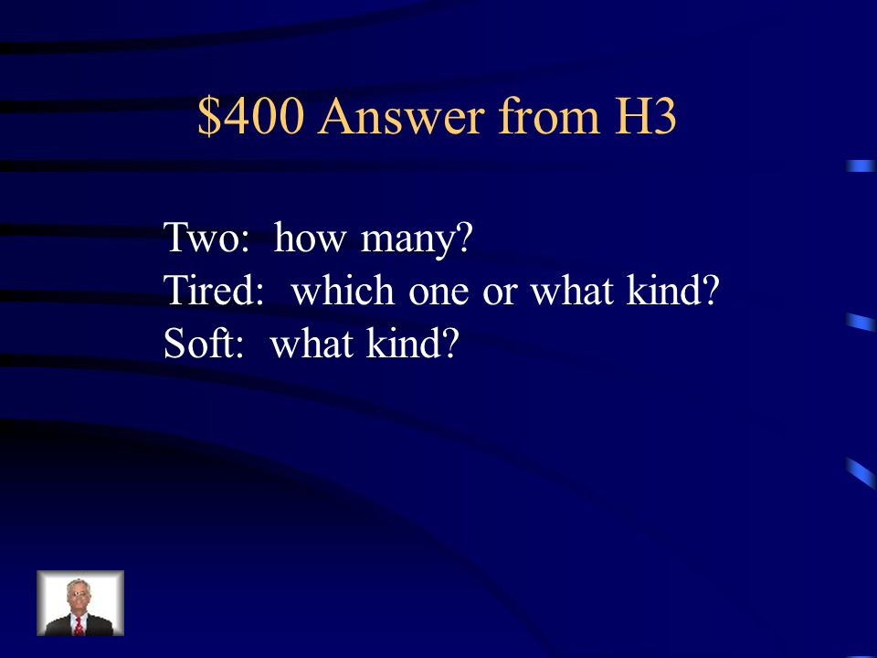 $400 Question Find the adjectives and tell which questions they answer: The two tired kittens curled up on the soft chair.
