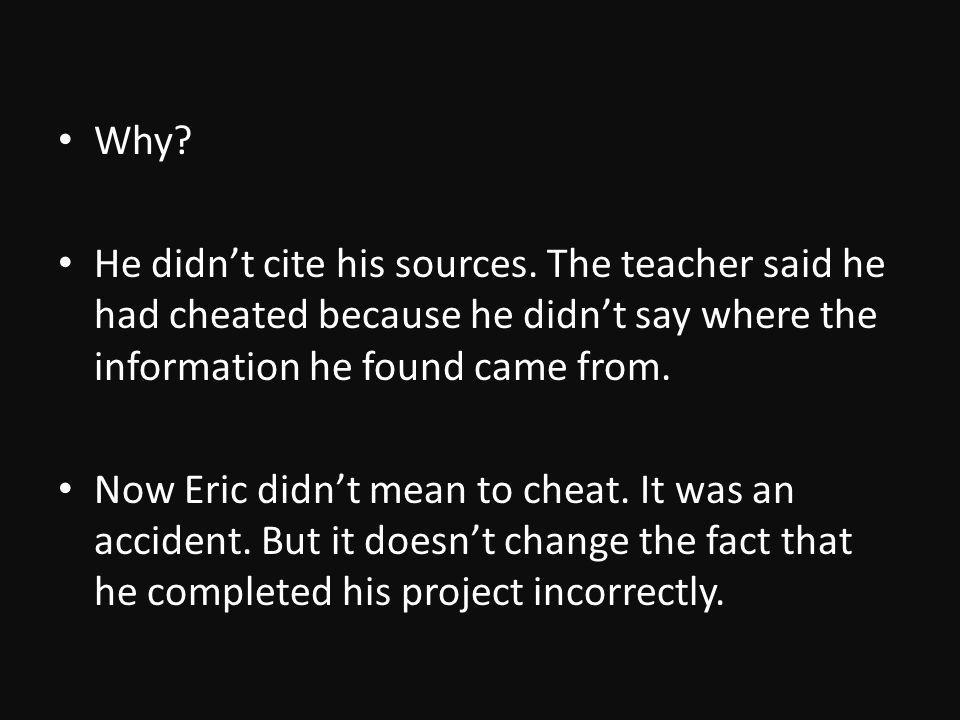 Why. He didnt cite his sources.