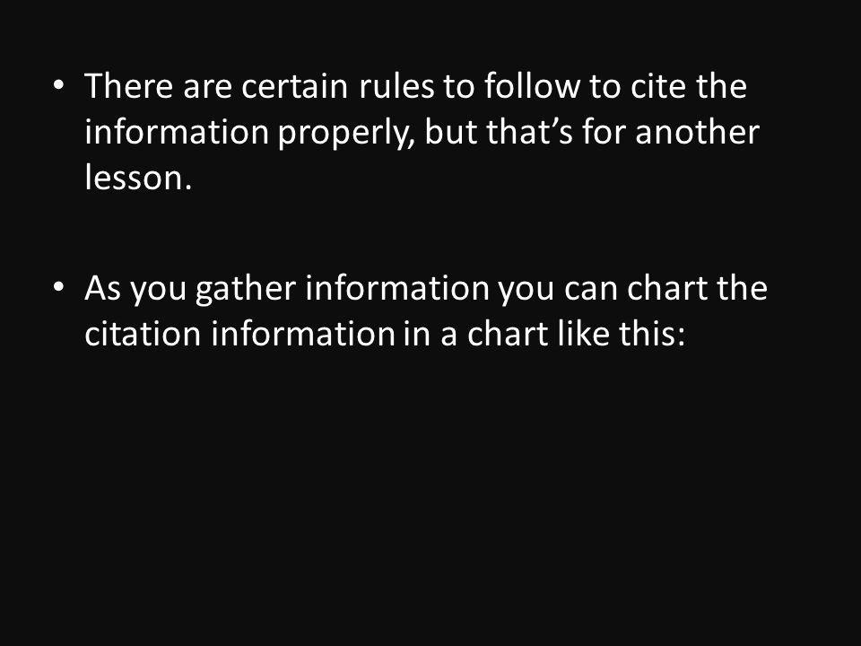 There are certain rules to follow to cite the information properly, but thats for another lesson.