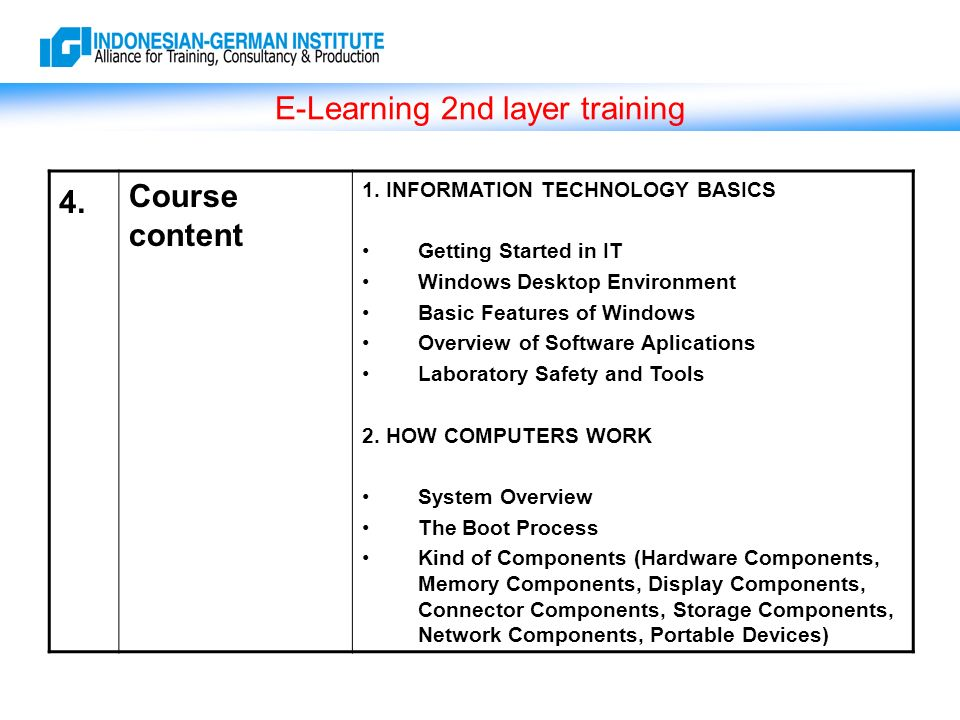 E-Learning 2nd layer training 4. Course content 1.