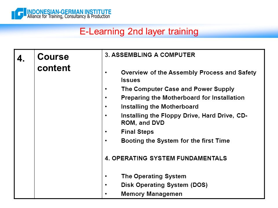 E-Learning 2nd layer training 4. Course content 3.