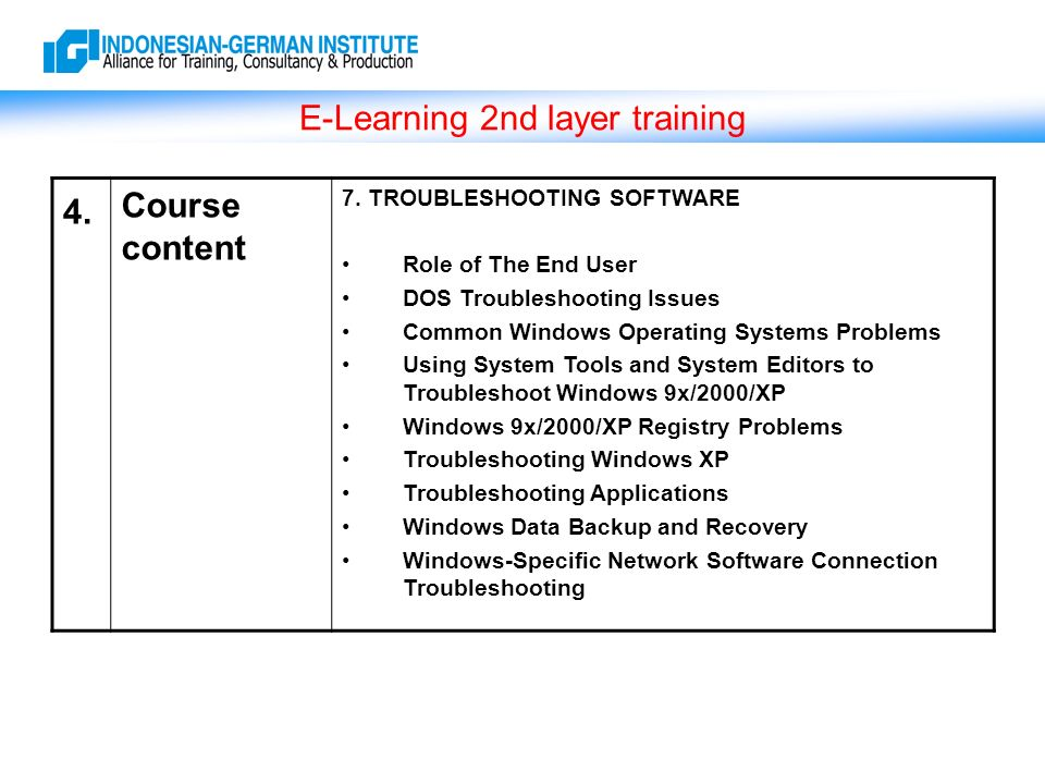 E-Learning 2nd layer training 4. Course content 7.
